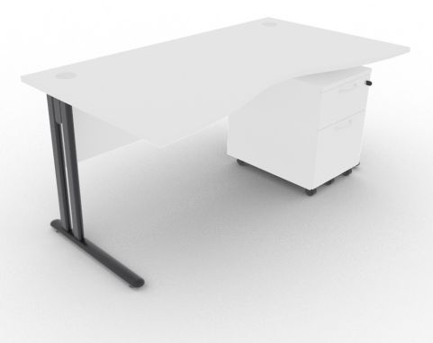 Optimize Double Wave Desk And Pedestal White