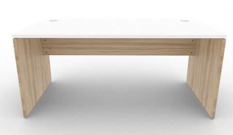 Oslo Rectangular Desk Nebraska Oak And White Front View
