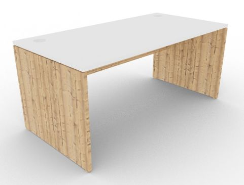 Oslo Rectangular Desk White And Timber View