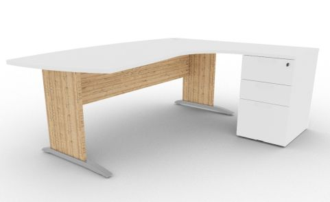 Oslo Manager Corner Desk And Pedestal White And Timber View