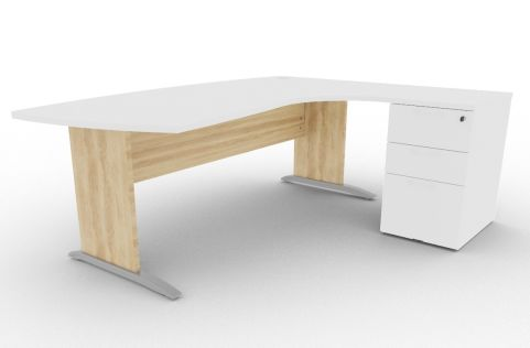Oslo Manager Corner Desk And Pedestal White And Nebraska Oak View