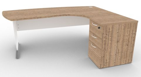 Oslo Manager Corner Desk And Pedestal Timber And White