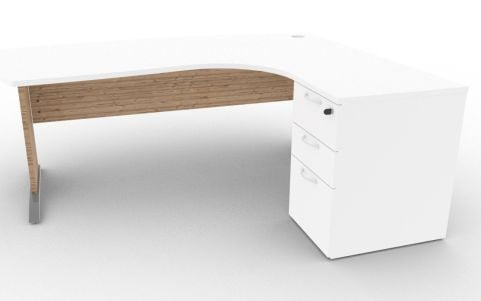 Oslo Manager Corner Desk And Pedestal White And Timber