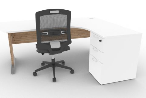 Oslo Manager Corner Desk And Pedestal White And Timber Mood View