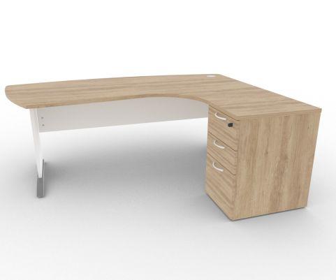 Oslo Manager Corner Desk And Pedestal Nebraska Oak