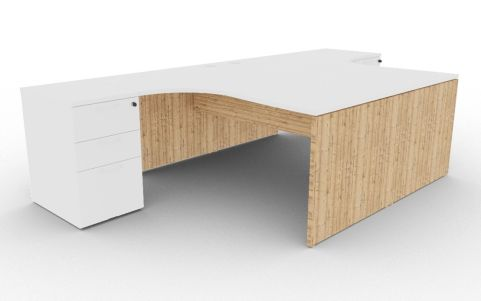 Oslo Two Corner Desk And Pedestal Bundle White And Timber View