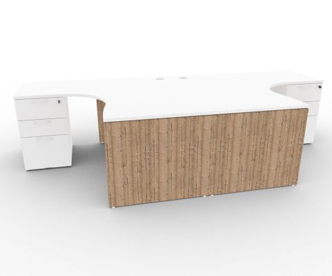 Oslo Two Corner Desk And Pedestal Bundle White And Timber