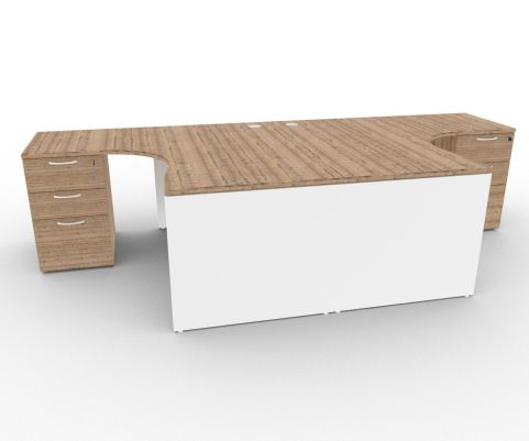 Oslo Two Corner Desk And Pedestal Bundle Timber And White