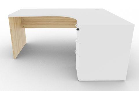 Oslo Right Hand Corner Desk Pedestal Bundle White And Nebraska Oak Front View