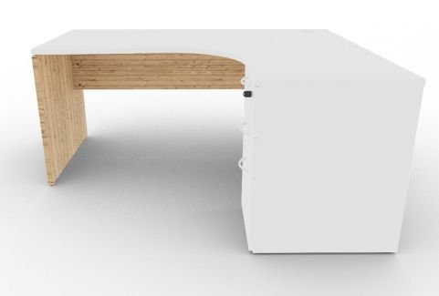 Oslo Right Hand Corner Desk Pedestal Bundle White And Timber Front View