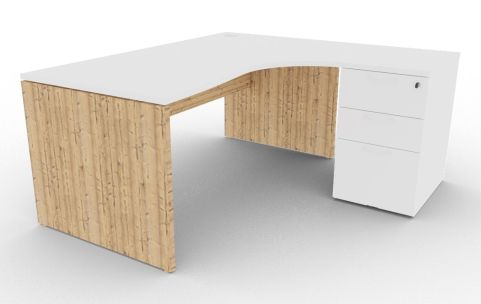 Oslo Right Hand Corner Desk Pedestal Bundle White And Timber View