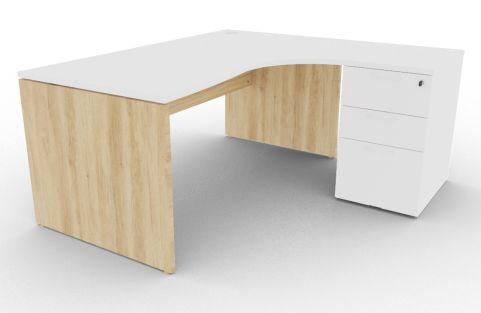 Oslo Right Hand Corner Desk Pedestal Bundle White And Nebraska Oak View