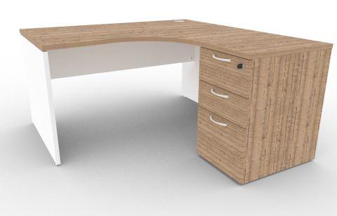 Oslo Right Hand Corner Desk Pedestal Bundle Timber And White