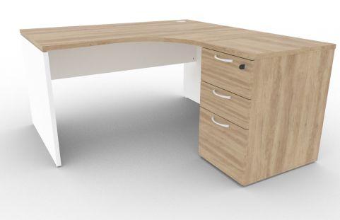 Oslo Right Hand Corner Desk Pedestal Bundle Nebraska Oak And White