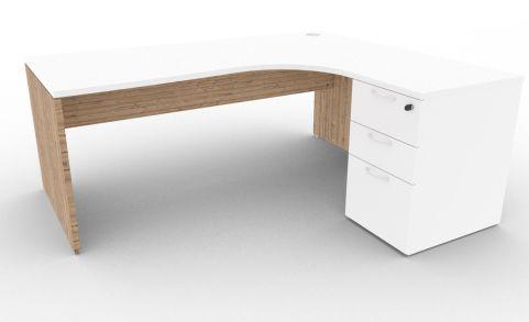 Oslo Right Hand Corner Desk Pedestal Bundle White And Timber