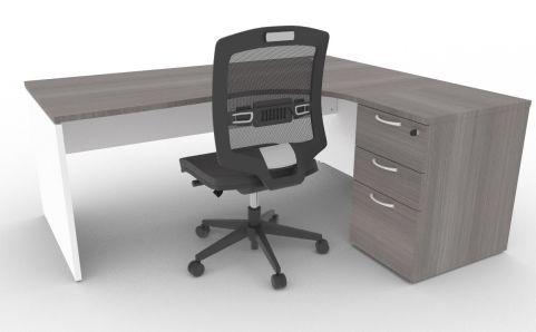 Oslo Right Hand Corner Desk Pedestal Bundle Cedar And White Mood View