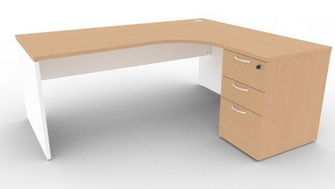 Oslo Right Hand Corner Desk Pedestal Bundle Beech And White