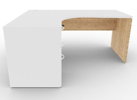 Oslo Left Hand Corner Desk Pedestal Bundle White And Timber Front View