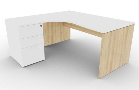 Oslo Left Hand Corner Desk Pedestal Bundle White And Nebraska Oak View