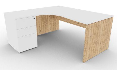 Oslo Left Hand Corner Desk Pedestal Bundle White And Timber View