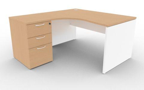 Oslo Left Hand Corner Desk Pedestal Bundle Beech And White
