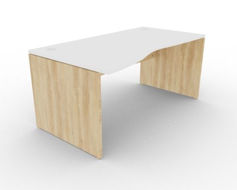 Oslo Left Hand Wave Desk White And Nebraska Oak View