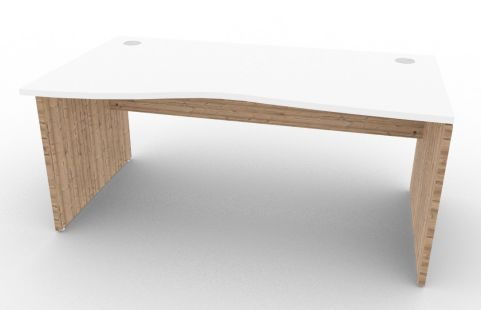 Oslo Left Hand Wave Desk White And Timber