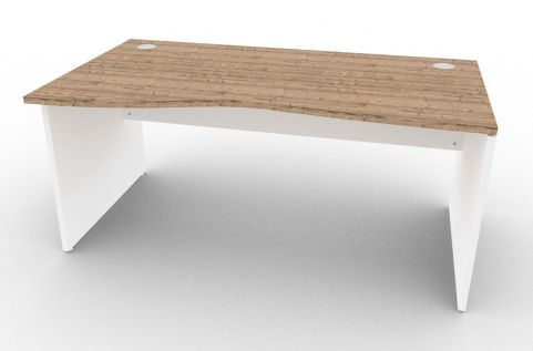 Oslo Left Hand Wave Desk Timber And White