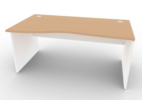 Oslo Left Hand Wave Desk Beech And White