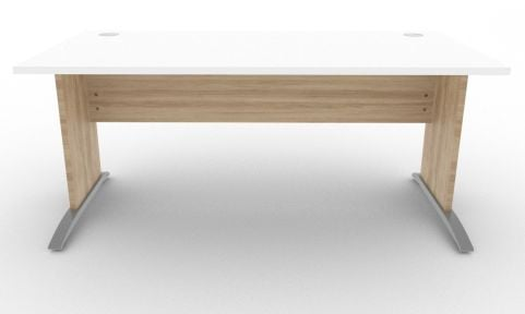 Oslo Rectangular Cantilever Frame Desk White And Nebraska Oak Front View