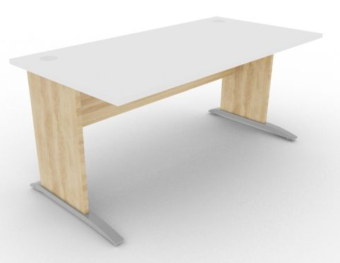 Oslo Rectangular Cantilever Frame Desk White And Nebraska Oak View