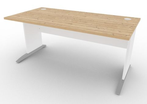 Oslo Rectangular Cantilever Frame Desk Timber And White
