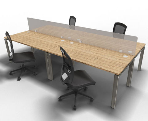 Saturn 4 Person Bench Desk Timber