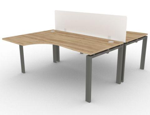 Saturn 2 Person Bench Desk And Acrylic Screen Nebraska Oak