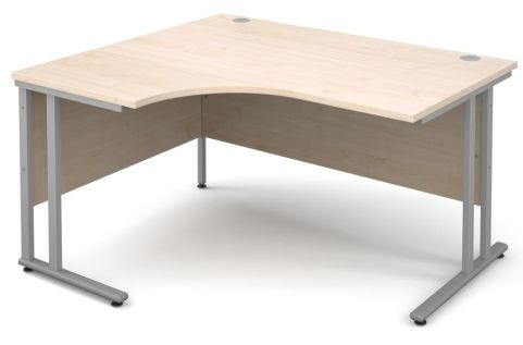 GM Corner Desk Maple With Silver Frame