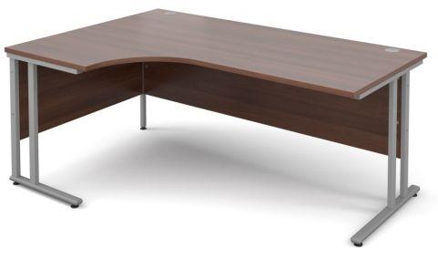 GM Corner Desk Walnut With Silver Frame
