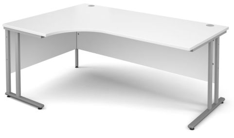 GM Corner Desk White With Silver Frame