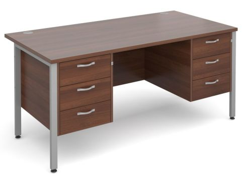 GM H Frame Double Pedestal Walnut With Silver Frame