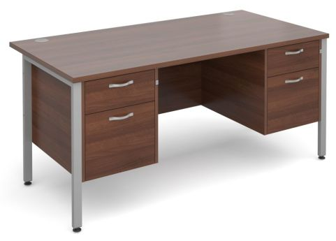 Gm Double Ped Desk Walnut With Silver Frame