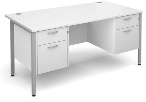 Gm Double Ped Desk White With Silver Frame