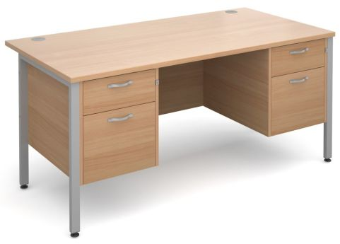 Gm Double Ped Desk Beech With Silver Frame