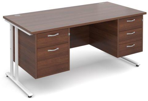 GM Rectangular Desk 2 And 3 Drawers Walnut