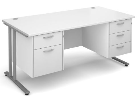 GM Rectangular Desk 2 And 3 Drawers White With Silver Frame