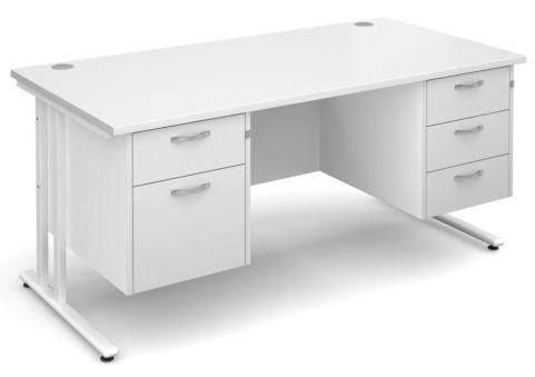 GM Rectangular Desk 2 And 3 Drawers White