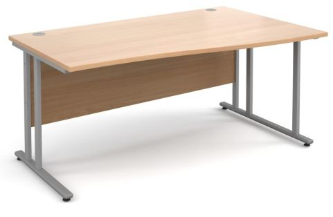 GM Right Hand Wave Desk Beech With Silver Frame