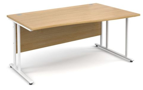 GM Right Hand Wave Desk Beech With White Frame