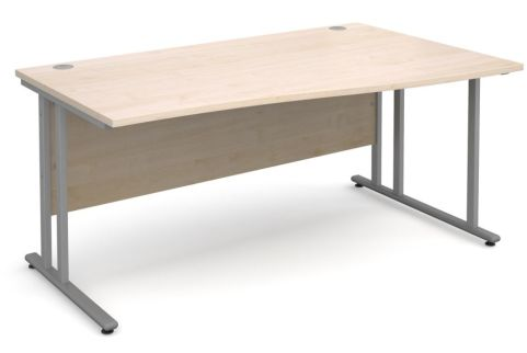 GM Right Hand Wave Desk Maple With Silver Frame
