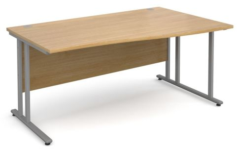 GM Right Hand Wave Desk Oak With Silver Frame
