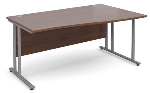 GM Right Hand Wave Desk Walnut With Silver Frame