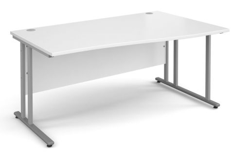 GM Right Hand Wave Desk White With Silver Frame